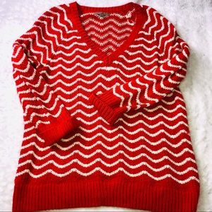 Gap V neck Orange cable knit sweater